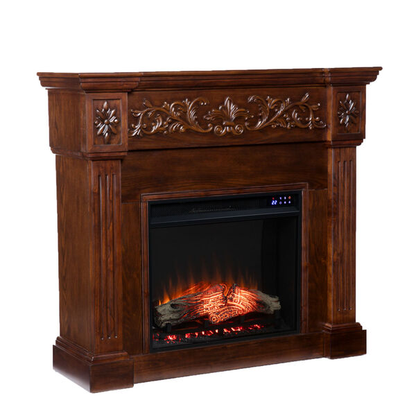 Calvert Rich espresso Carved Electric Fireplace, image 5