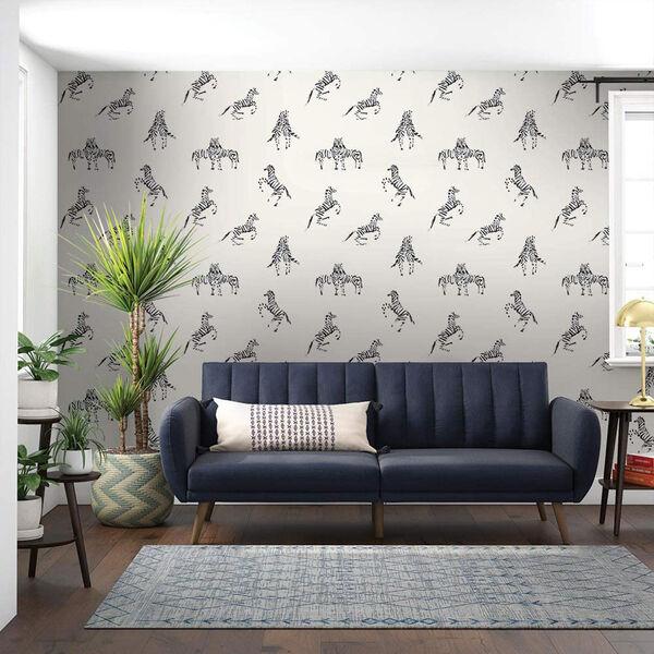 Novogratz White Zebras in Love Waverly Peel and Stick Wallpaper, image 1
