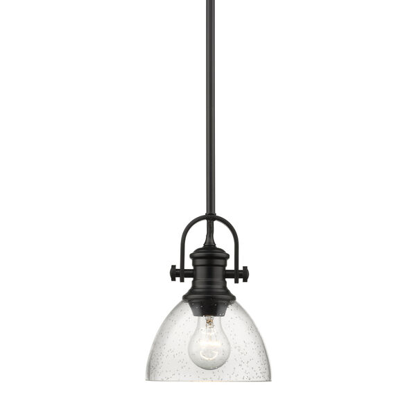 Hines Black 7-Inch One-Light Mini Pendant with Seeded Glass, image 1