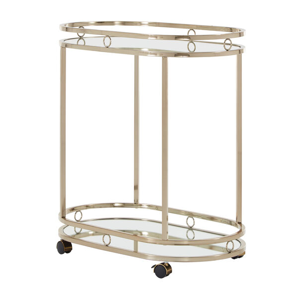 Lissa Champagne Gold Oval Bar Cart, image 1
