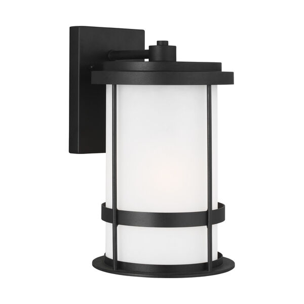 Wilburn Black Eight-Inch One-Light Outdoor Wall Sconce with Satin Etched Shade Energy Star, image 2