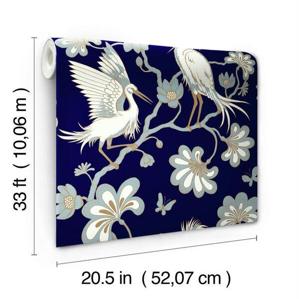 Florence Broadhurst Navy Egrets Wallpaper, image 3
