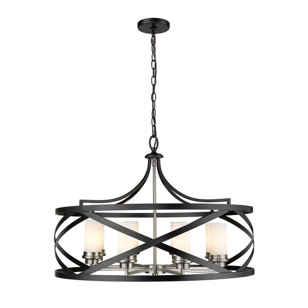 Malcalester Matte Black and Brushed Nickel Eight-Light Pendant, image 1