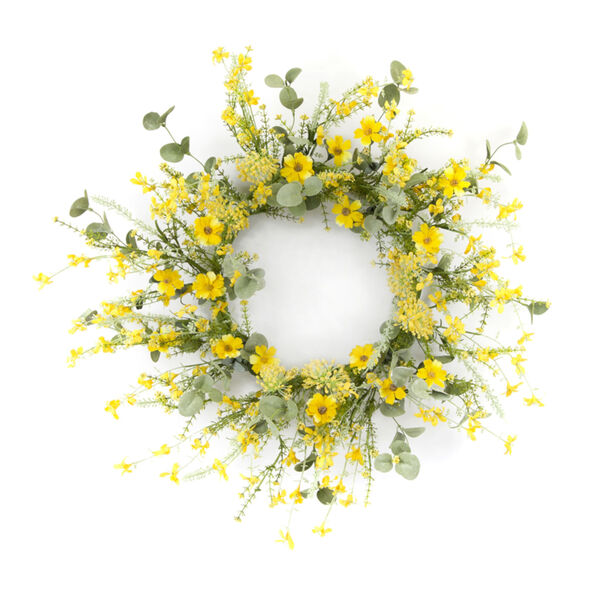 Yellow and Green 20-Inch Mini Floral Wreath, image 1