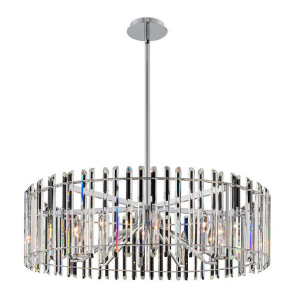 Viano Polished Chrome 10-Light Pendant with Firenze Crystal, image 1
