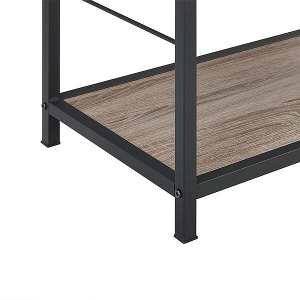 60-inch Rustic Metal and Wood Media Bookshelf - Driftwood, image 4