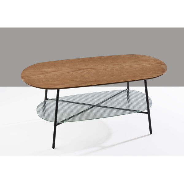Diane Natural Wood and Black Two-Tiered Coffee Table, image 6