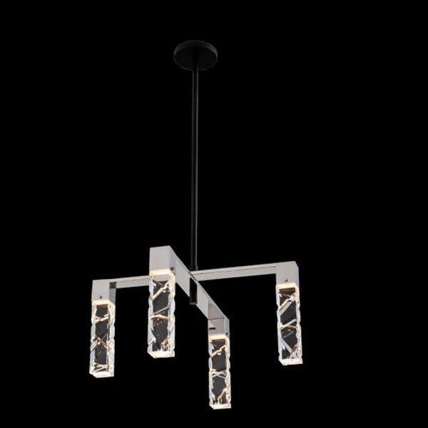 Serres Matte Black Polished Nickel Four-Light LED Chandelier with Firenze Crystal, image 2