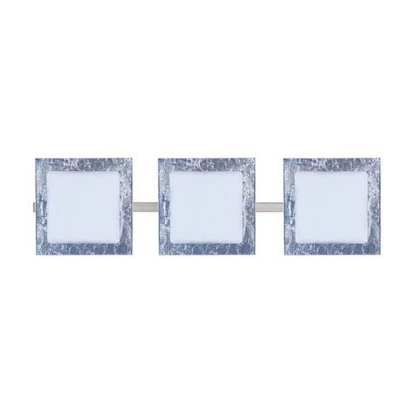 Alex Satin Nickel Three-Light LED Bath Vanity with Opal and Silver Foil Glass, image 1