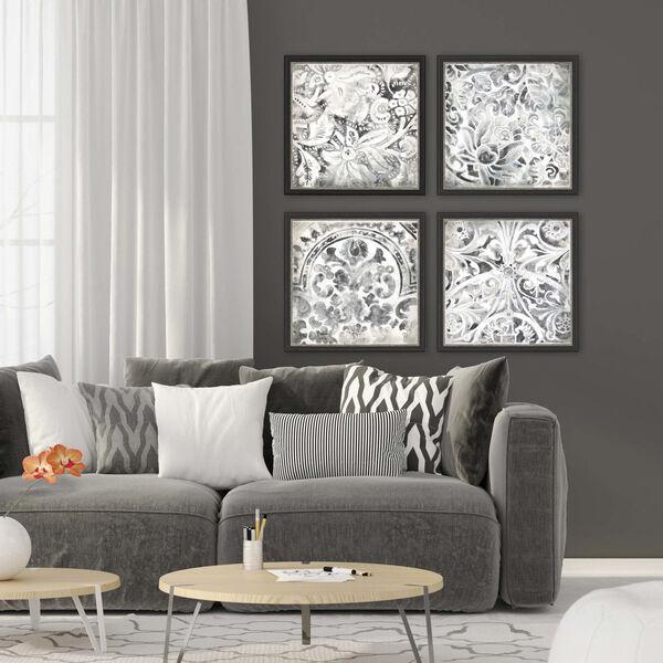 Black and White Stone Tile Framed Art, Set of 4, image 1