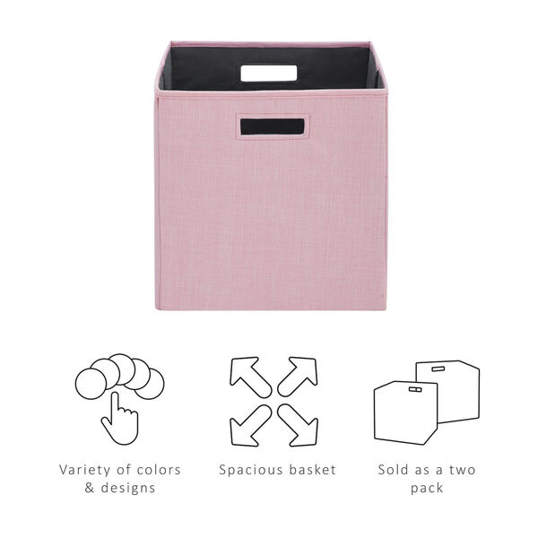 Liam Pink Storage Bin, Pack of 2, image 5