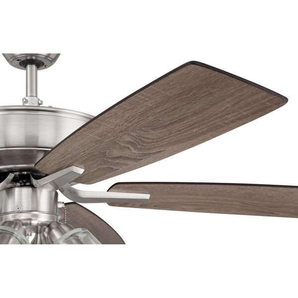 Pro Plus Brushed Polished Nickel 52-Inch Four-Light Ceiling Fan with Clear Glass Bell Shade, image 6