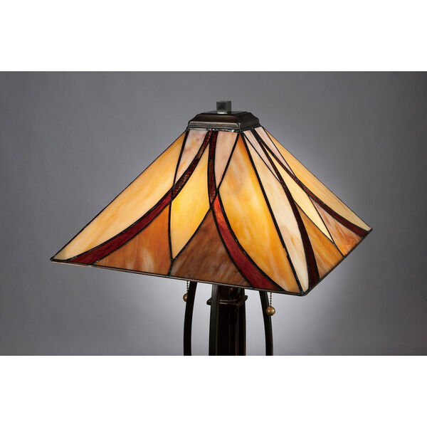 Wellington Bronze Two-Light Table Lamp with Tiffany Glass, image 4