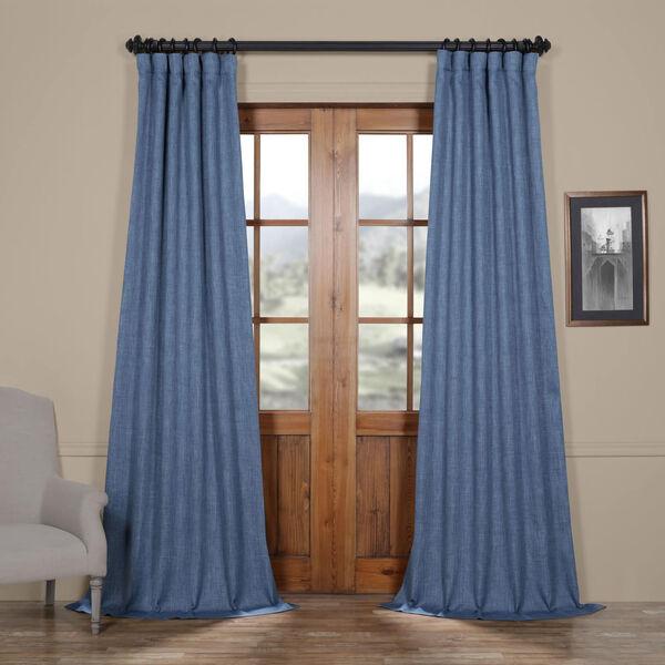 Blue Denim 96 x 50 In. Faux Linen Blackout Curtain Single Panel, image 1