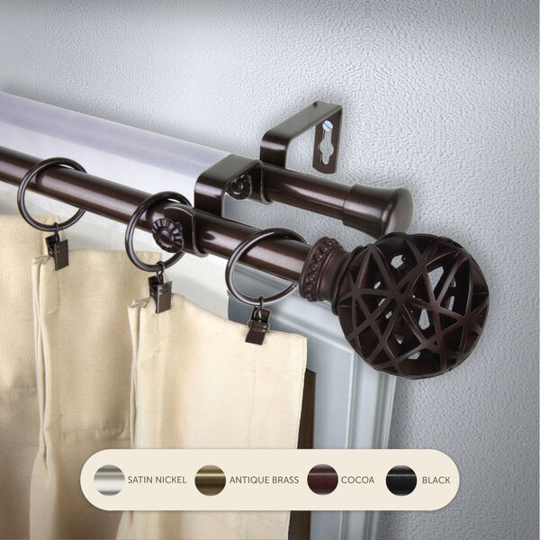 Leanette Cocoa 48-Inch Double Curtain Rod, image 2