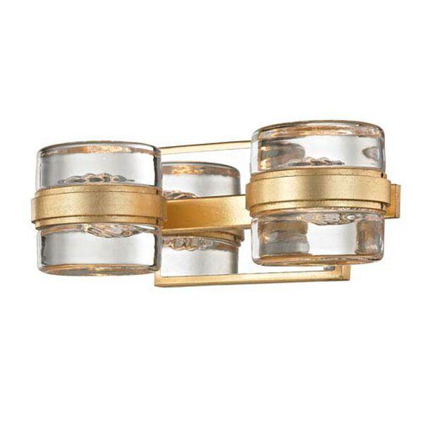 Colette Gold Leaf and Polished Chrome Two-Light LED Bath Vanity, image 1