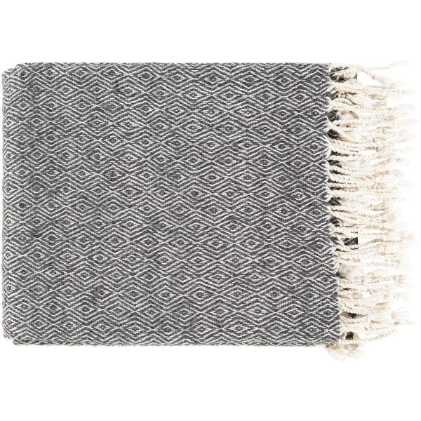 Hamlet Black Medium Gray Beige 32 x 60 Inch Throw, image 1