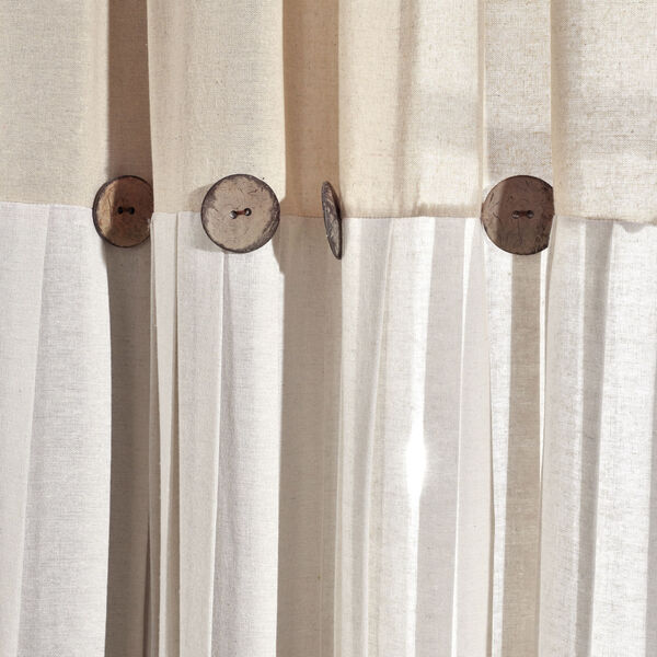 Linen Button Beige and Off White 40 x 63 In. Single Window Curtain Panel, image 3
