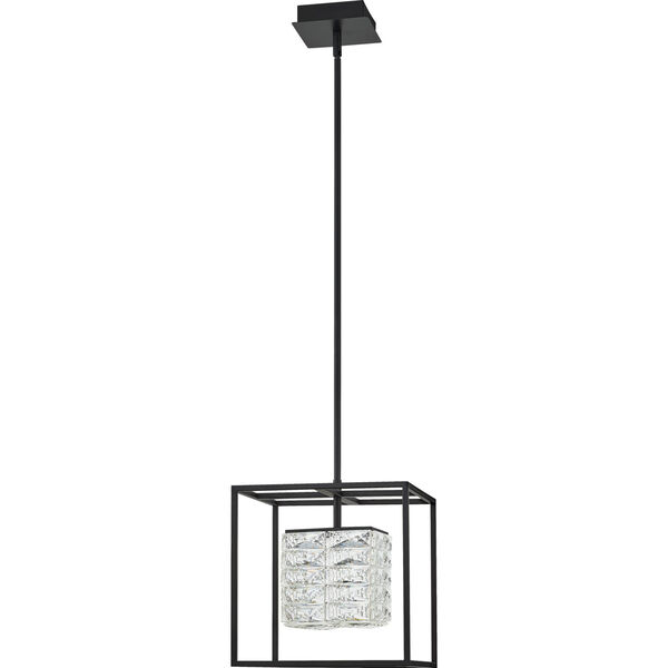Dazzle Matte Black Integrated LED One-Light Pendant with Crystal, image 6