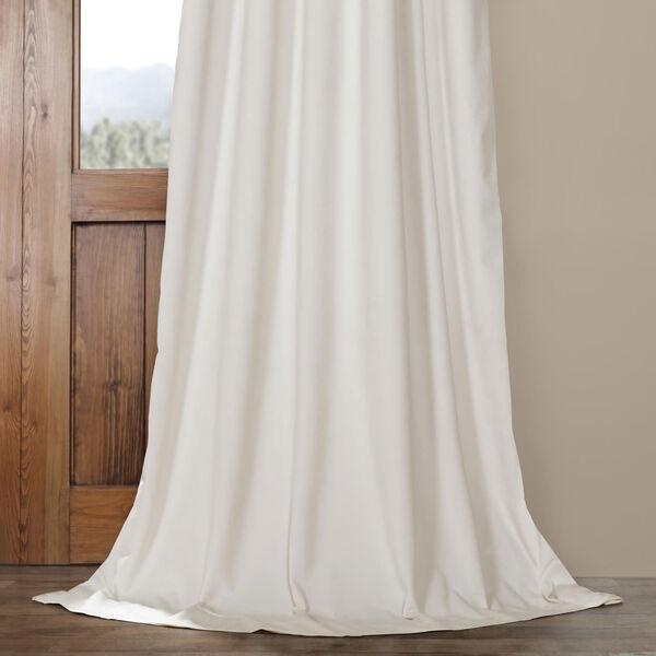 Porcelain White Blackout Velvet Pole Pocket Single Panel Curtain, 50 X 96, image 5