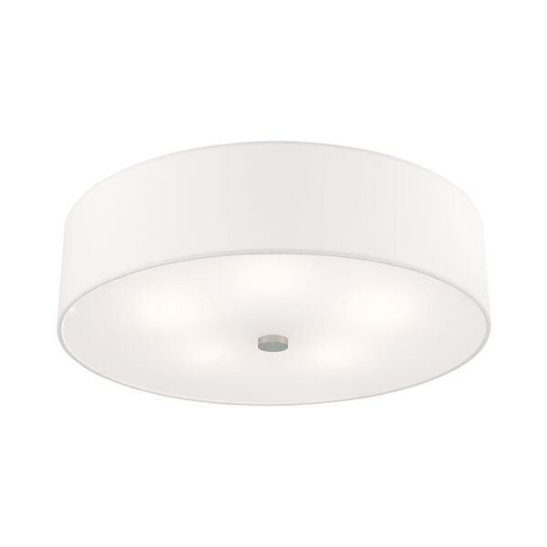 Meridian Brushed Nickel 22-Inch Five-Light Ceiling Mount with Hand Crafted Off-White Hardback Shade, image 4