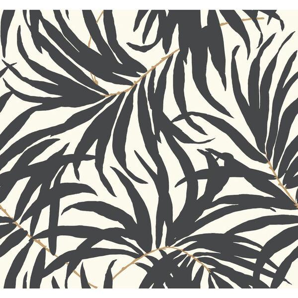 Ashford House Tropics Off-White and Grey Bali Leaves Wallpaper, image 1