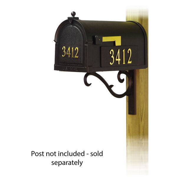 Curbside Black Mailbox with Front and Side Address and Sorrento Front Single Mailbox Mounting Bracket, image 1