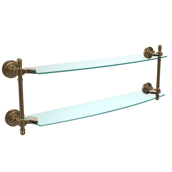 Retro Dot Brushed Bronze 24 Inch x 5 Inch Double Glass Shelf, image 1