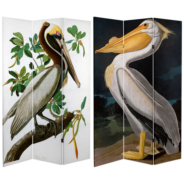 6-Foot Tall Double Sided Audubon Pelican Canvas Room Divider, image 1