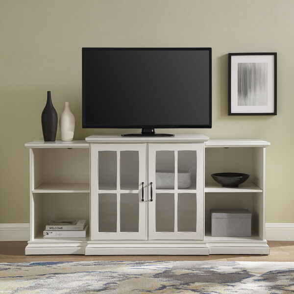 Antique White 60-Inch Classic Two-Door Tiered TV Console, image 4