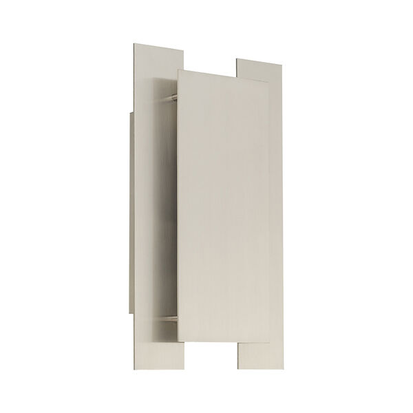 Varick Brushed Nickel Eight-Inch Two-Light ADA Wall Sconce with Brushed Nickel Metal Shade, image 2