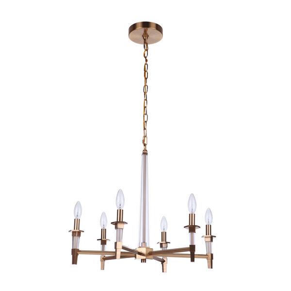 Tarryn Satin Brass Six-Light Chandelier, image 1