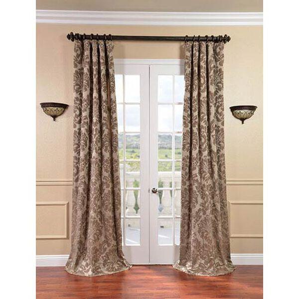 Astoria Taupe and Mushroom Faux Silk Jacquard Single Panel Curtain, 50 X 120, image 1