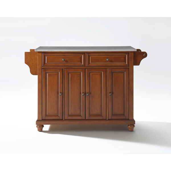 Cambridge Stainless Steel Top Kitchen Island in Classic Cherry Finish, image 1