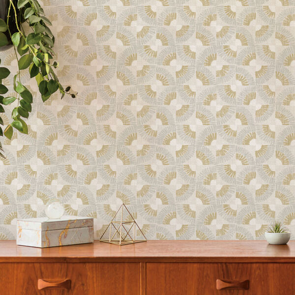 Grasscloth Gold Fans Canary Peel and Stick Wallpaper, image 3