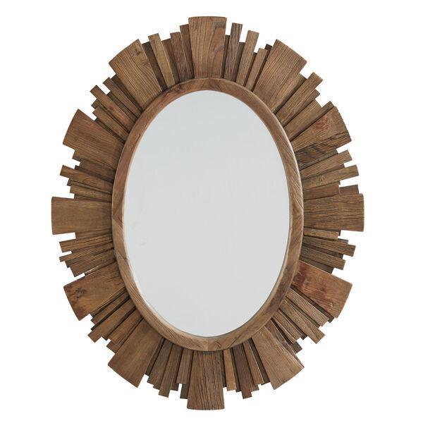 Brigid Reclaimed Wood Oval Sunburst Wall Mirror, image 2