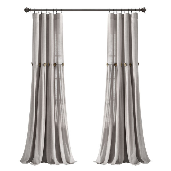 Linen Button Gray 40 x 95 In. Single Window Curtain Panel, image 5