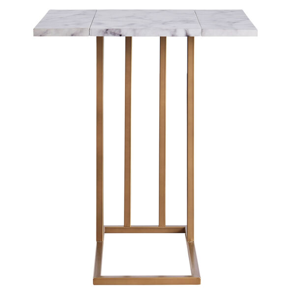 Marmo Faux Marble and Brass C Shape Extension Table with Faux Marble Top, image 5