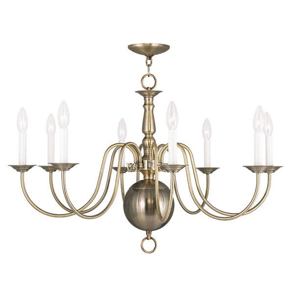 Williamsburgh Antique Brass 32-Inch Eight-Light Chandelier, image 1