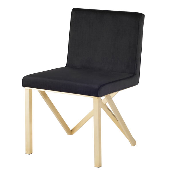 Talbot Black and Brushed Gold Dining Chair, image 5