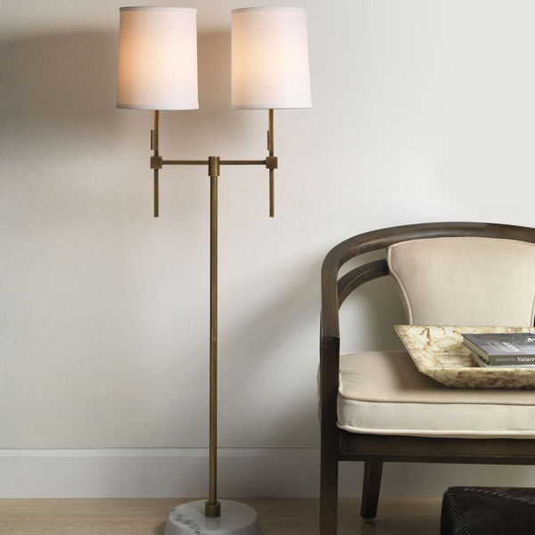 Minerva Antique Brass and White Marble Two-Light Floor Lamp, image 3