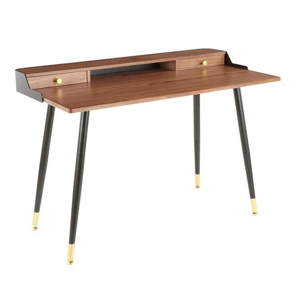 Harvey Black, Walnut Wood and Gold Writing Desk, image 1