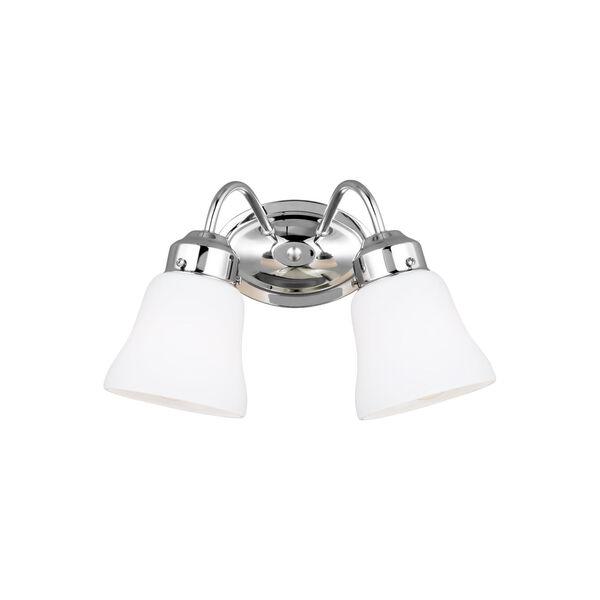 Westmont Chrome Two-Light Bath Vanity with Satin White Shade, image 1