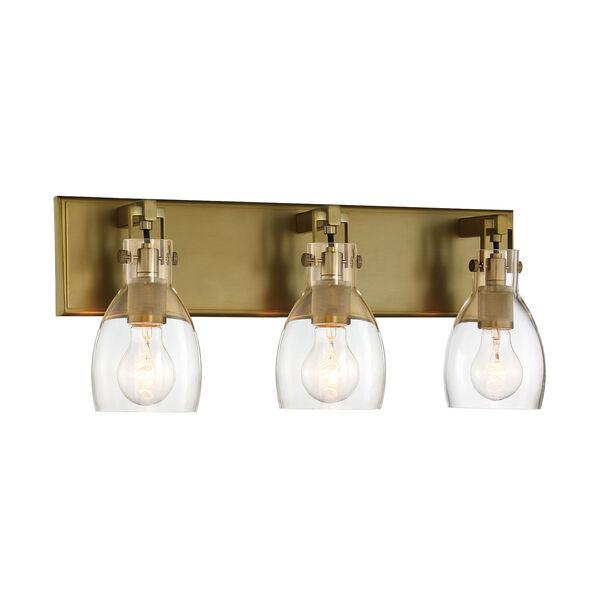 Tiberia Soft Brass Three-Light Bath Vanity, image 1
