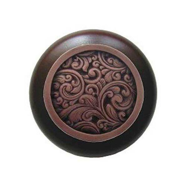 Dark Walnut Saddleworth Knob with Antique Copper , image 1
