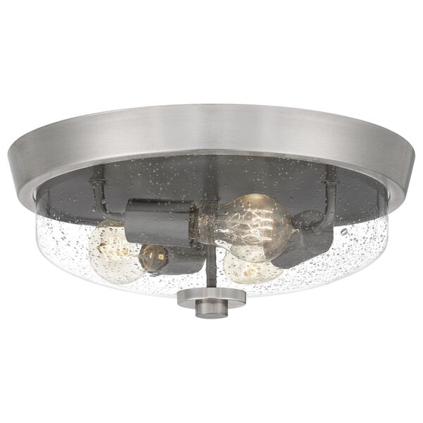 Radius Brushed Nickel 15-Inch Three-Light Flush Mount with Clear Seeded Glass, image 1