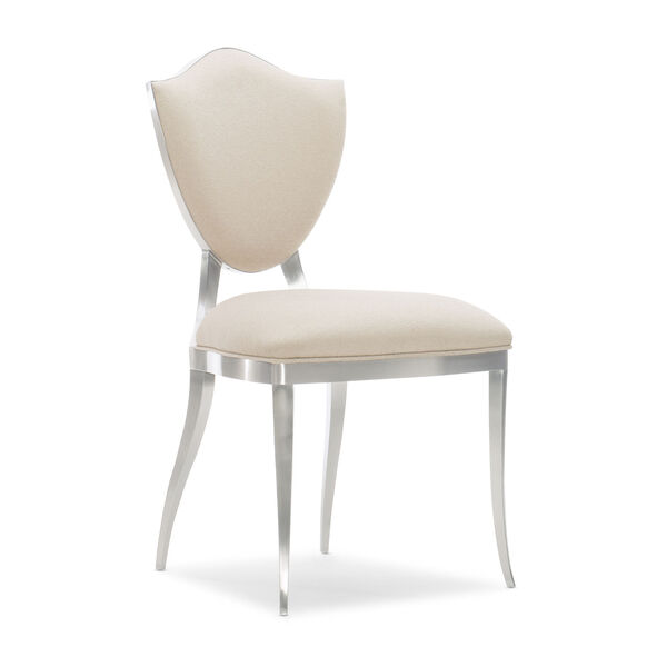 Caracole Classic Lightly Brushed Chrome and Beige Shield Me Chair, image 1