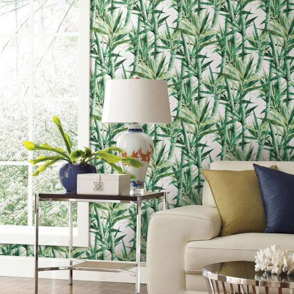 Lucky Bamboo Green And White Peel and Stick Wallpaper, image 3