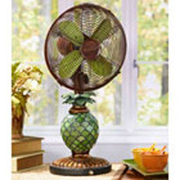 Antique Green / Brown 10 Inch Table Fan Mosaic Glass Pineapple, image 1