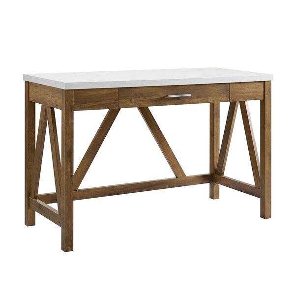46-Inch A-Frame Desk, Natural Walnut Base/White Marble Top, image 1